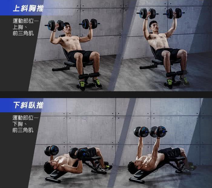 居家健身器材-重訓椅訓練示意